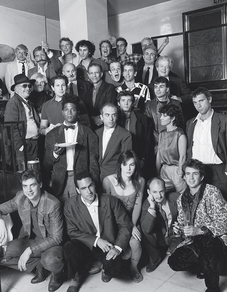"""for the invite to Area's """"Art"""" night, ringmaster Goode (bottom right) and his partners corralled an A to Z of art stars, including Andy Warhol, Jean-Michel Basquiat, Keith Haring, John Chamberlain, David Hockney, Leroy Neiman, Alex Katz, Francesco Clemente, Julian Schnabel, Tony Shafrazi, and Robert Mapplethorpe."""
