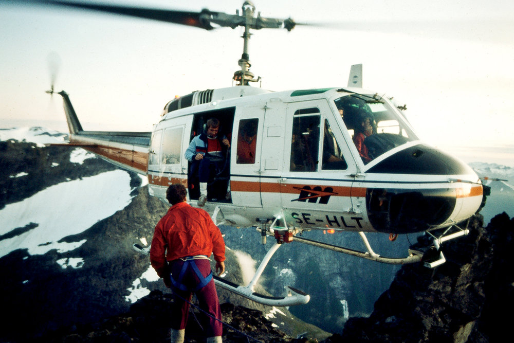 Depositing the film crew on the long summit ridge of the Troll Wall (Trollveggen, Romsdalen Valley, near Åndalsnes, Norway), during the world record BASE jump by Jean and Carl Boenish.