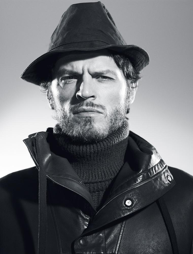 Nylon gabardine hooded anorak and turtleneck sweater Dior Homme hat Virdi-Anne