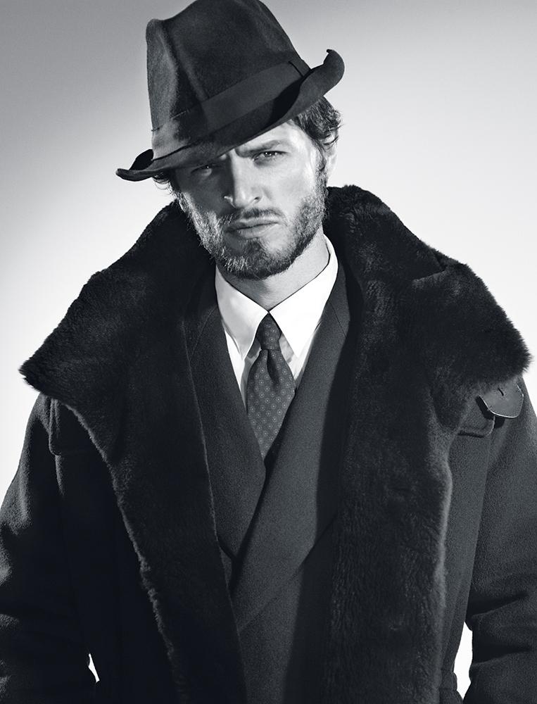 Wool and beaver coat Berluti Wool suit and cotton shirt Dries Van Noten Tie Ralph Lauren Hat Virdi-Anne