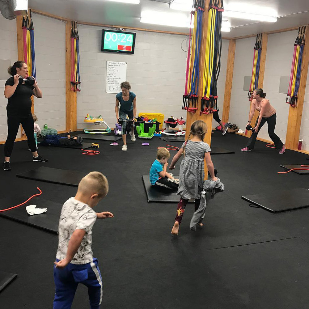 Babies and kids welcome! They get to play while you get to sweat.