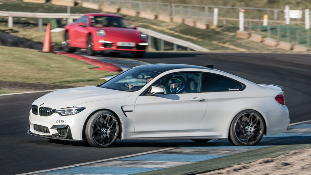 The MCG Performance M4 being put through its paces at the famous Knockhill chicane.