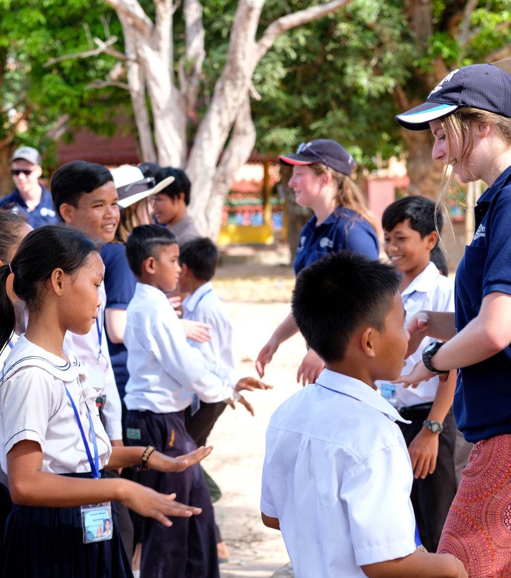 Learning Cambodian dance.