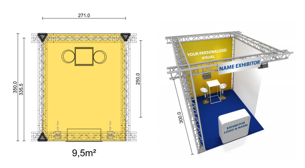 Construction :  Standing Truss structure with branded backdrop and sides in white transparent voile (not draped).   Fascia :  1 x Nameplate with a name in standard lettering   Floor Cover  : Carpet   Includes :  1 x Bar table, white frame and table top (WxD 60x60cm/H112cm)  2 x Barstool, white frame, seat white  1 x Branded Backdrop WxH 270cm x 300cm  1 x white desk with branding   Lighting :  2 x LED spot 50W    Electrical Sockets:  1 x Connection 1000W / 230V   WIFI access    PRICE: €2600 (+ 21% VAT)    Additional Equipment (at extra costs)   Regarding the rental of extra equipment, such as special carpets/wooden floor, furniture, decoration, signage, audio visual equipment, extra internet lines, lighting, etc, please contact us at  elexhibition2019@eventmasters.be  when your registration is confirmed.