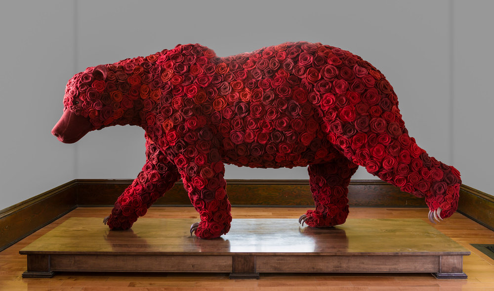 Widow, Walking , 2012, wool, cochineal dye, velvet, taxidermy form, pins and wood  collection of Telus Canada at Telus Garden, Vancouver  Photo: Jeff Crawford