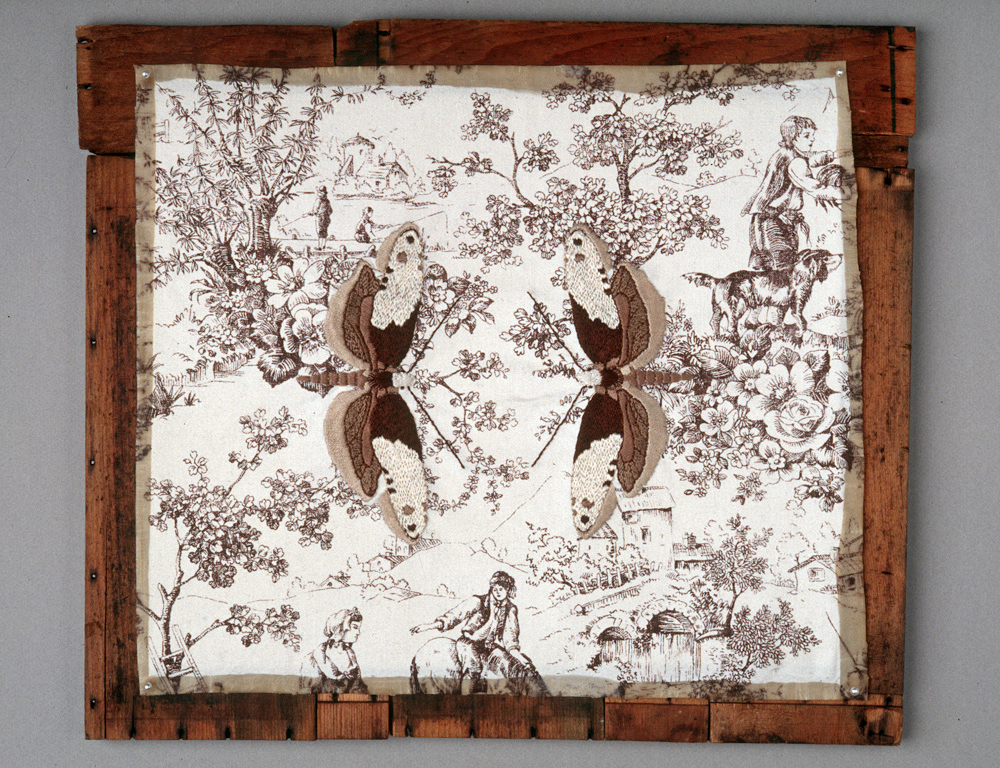 Tapestry Moths , 1999, embroidery on cotton, beeswax, found materials, 35 cm x 40 cm  Photo: Geoffrey Gammon