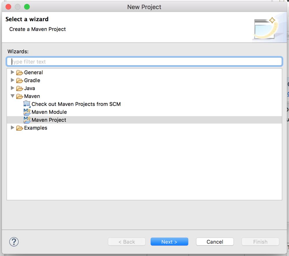 Select a wizard screenshot - cucumber jvm tutorial