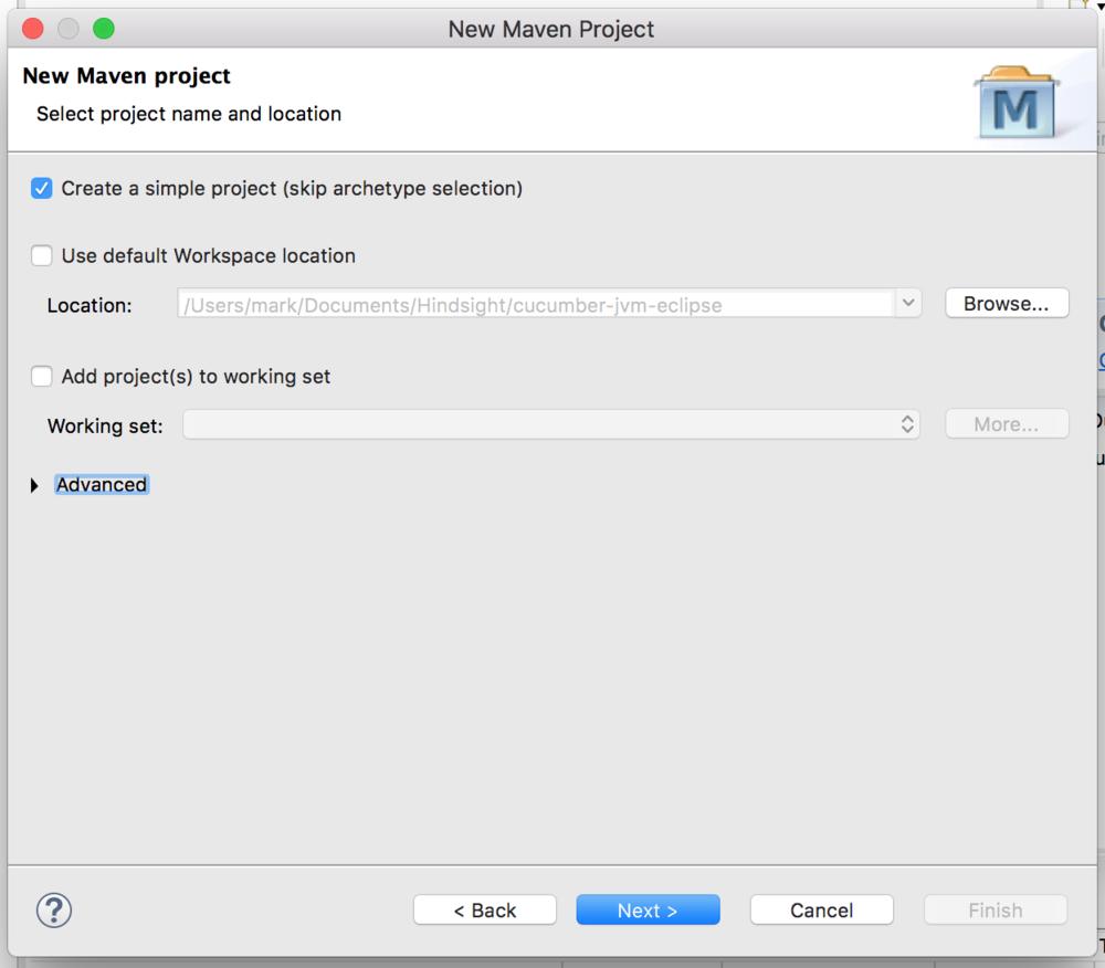New maven project screenshot - cucumber jvm tutorial