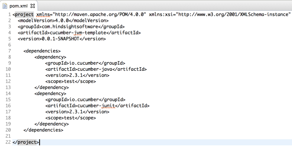 pom.xml screenshot - cucumber jvm tutorial