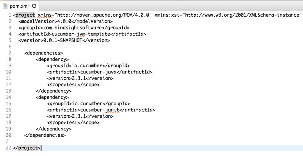 pom.xml screenshot - cucumber jvm tutorial