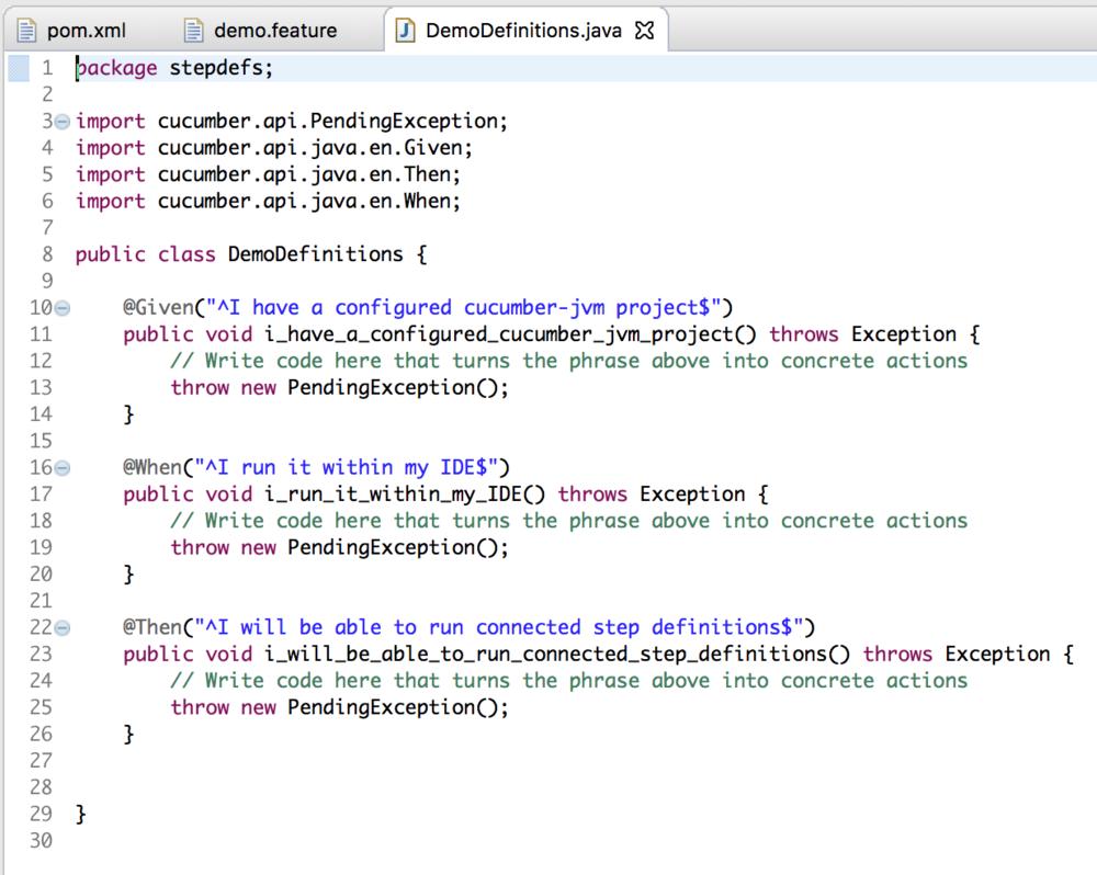 demo definitions screenshot - cucumber jvm tutorial