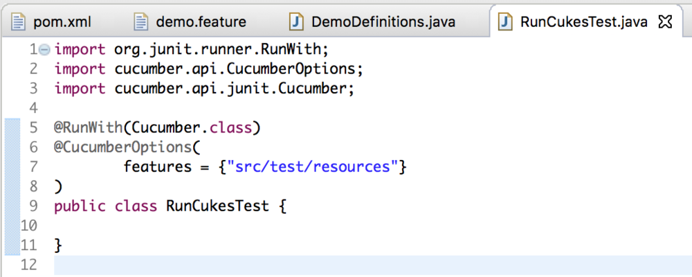 RunCukesTest.Java screenshot