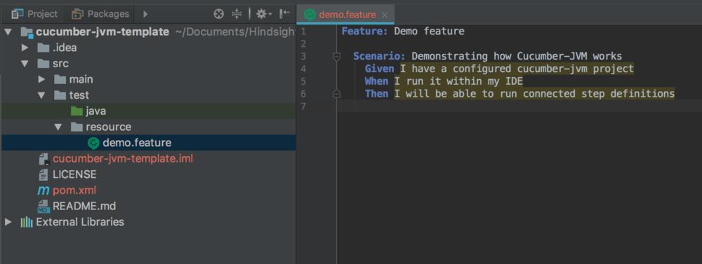 demo.feature screenshot - cucumber testing java - cucumber java