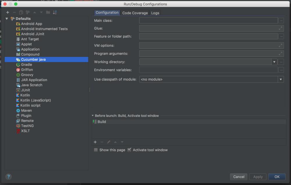 Run/Debug configurations screenshot - cucumber testing java - cucumber java