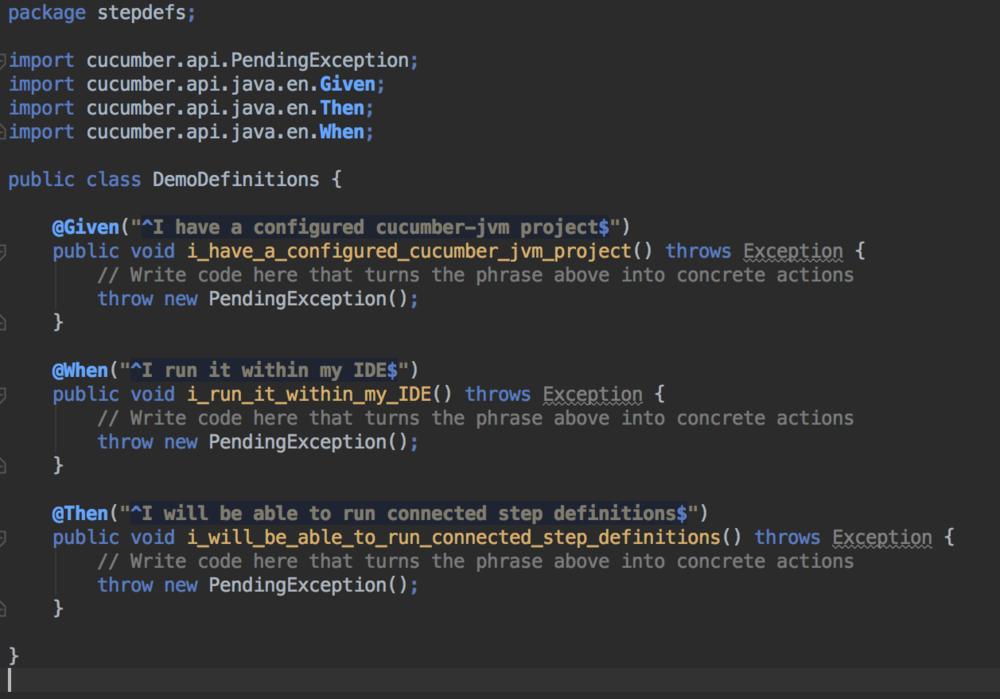Package stepdefs screenshot - cucumber testing java - cucumber java