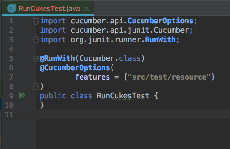 RunCukesTest java screenshot - cucumber testing java - cucumber java
