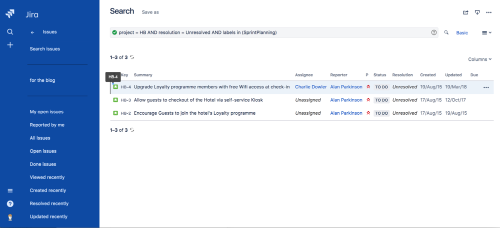 Hindsight Jira search screenshot