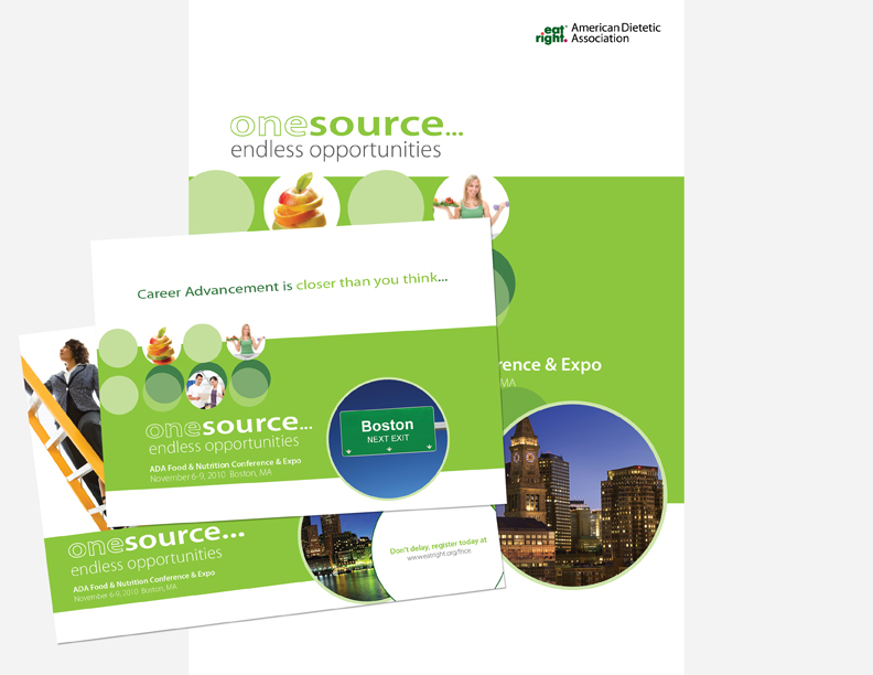 "Academy of Nutrition and Dietetics   The Food & Nutrition Conference (FNCE) is the Academy's premier national event with more than 10,000 attendees. AssociaDirect created this outstanding design concept for all conference marketing touchpoints. In addition, we suggested and created a direct mail and email campaign that was segmented geographically, by career stage, and by membership behavioral data. To take it one step further, the inside cover of the preliminary program was personalized by member segment. This design was awarded ""Best of Show"" in the Association Trends All Media Contest."