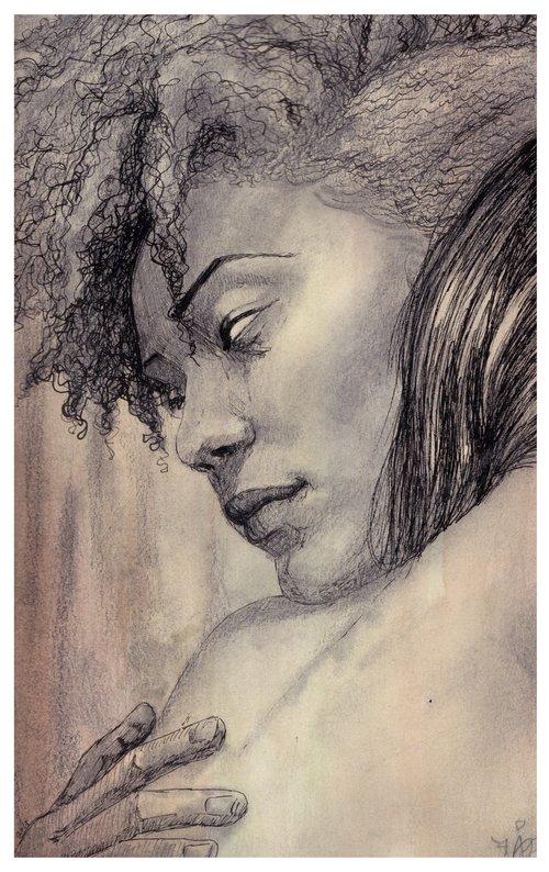 """Empathy"" graphite, ink, watercolor 8x10"
