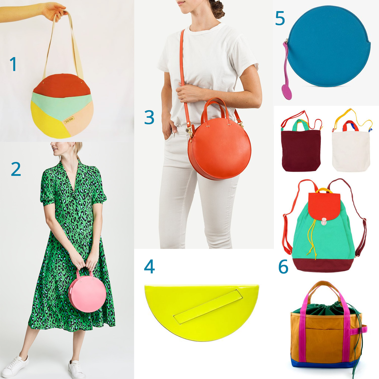 1: colorblocking  /  2: bold color mixing  /  3: bold colors that go with everything  / 4: neon (because you can!)  5: unexpected color  / 6: not a circle bag, but more colorblocking inspiration (please, someone indulge me)