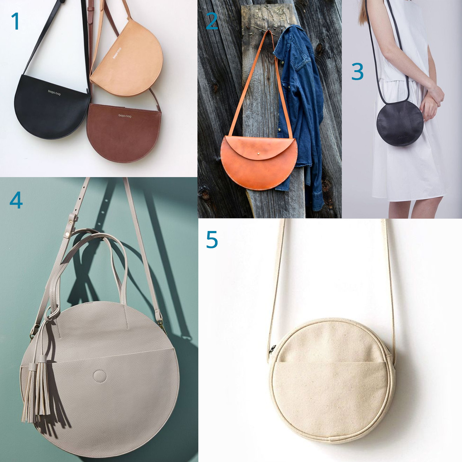 1: minimal leather basics  /  2: weathered caramel  /  3: LBP (Little Black Purse)  /  4: upscale grey  /  5: canvas cutie