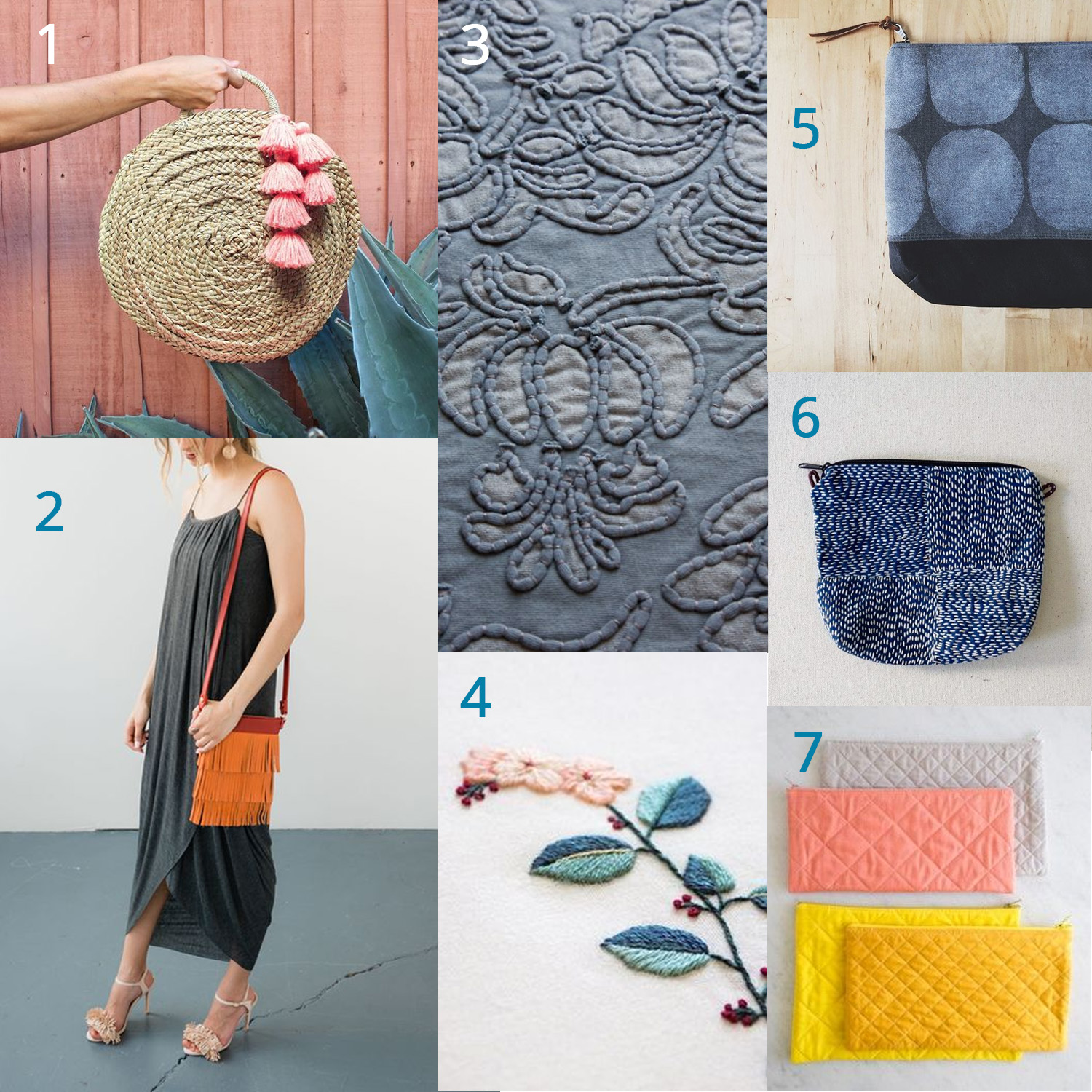 1: tassels and charms  /  2: fringes  /  3: applique techniques  / 4: embroidery and monogram /  5: diy printed fabrics  / 6: sashiko stitching and mending /  7: quilting