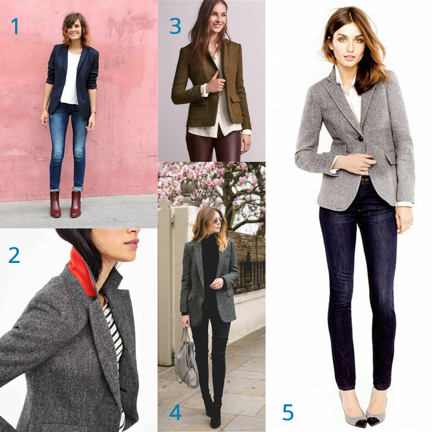 1: Casual day look,  2: Contrast collar inspiration ,  3: Business causal with an edge ,  4: Travel uniform ,  5: Lunch meeting