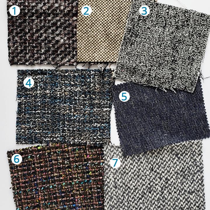 1: Black, Brown and Gray Boucled Wool Tweed ,  2: Olive/Bone Solid Tweed,   3: Black/White/Pale Grey Solid Tweed ,  4: Marine Blue and Beige Polyester Tweed ,  5: Navy and White Cotton Tweed ,  6: Italian Green and Blue Wool Tweed ,  7: Gray Woolen Wool Tweed