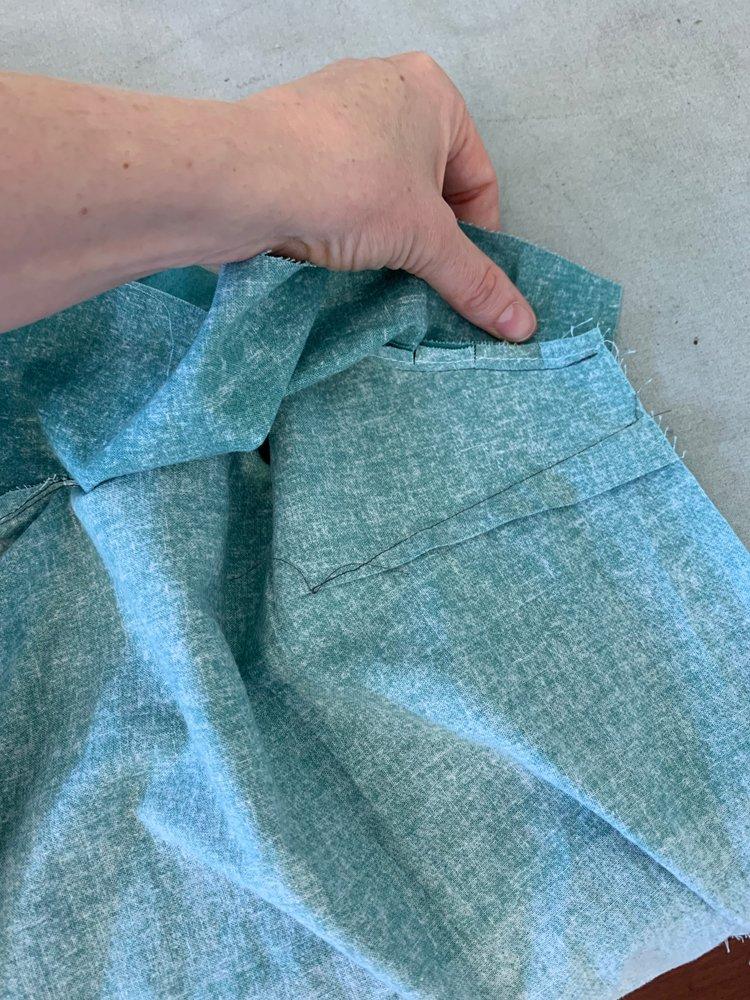 Underside of understitching shown on Version A dress