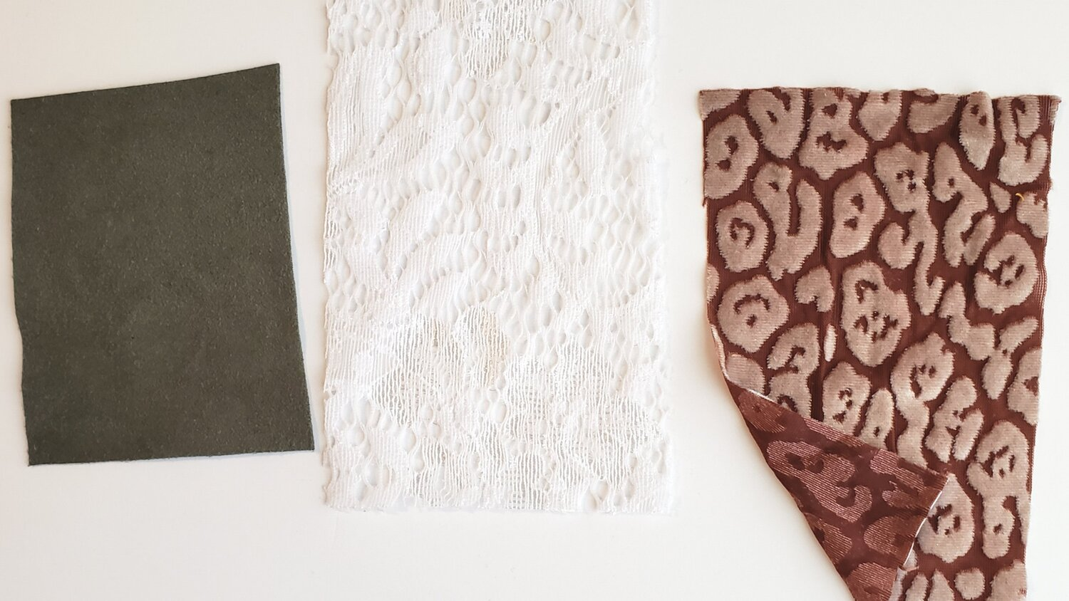 Left to right: stretch faux suede, stretch lace, stretch burnout velvet