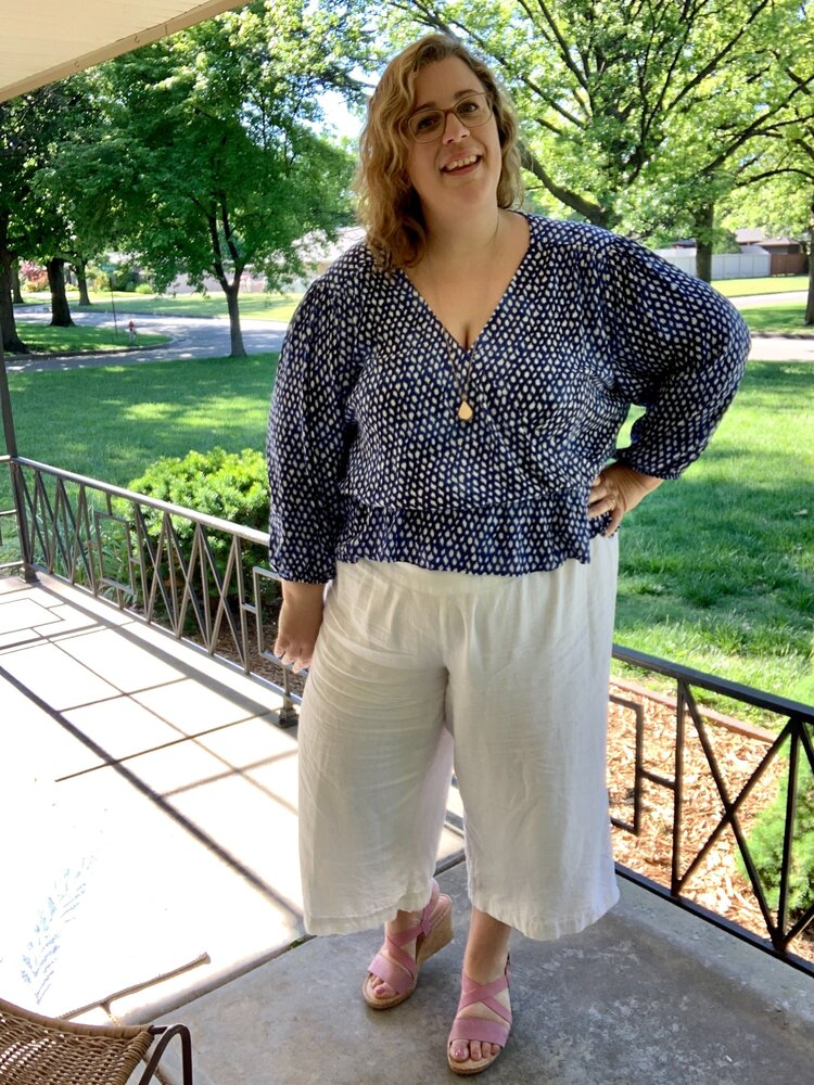 Kristine hacked the blouse to have an elastic waist—tutorial coming soon on this one!