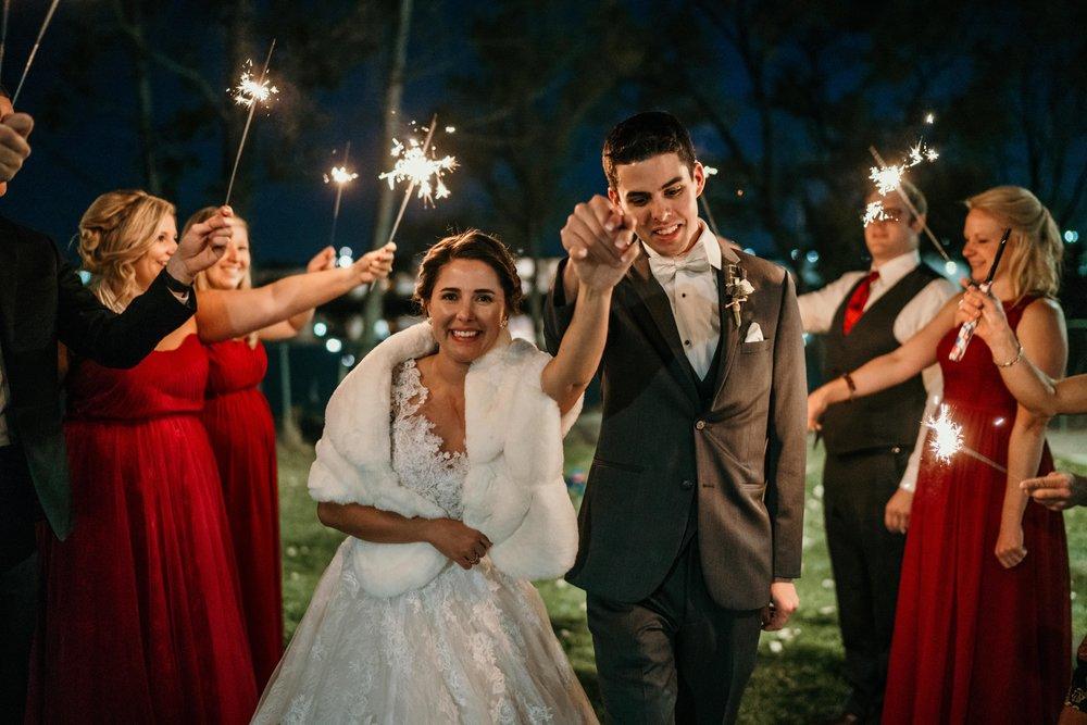 denver wedding sparkler send off
