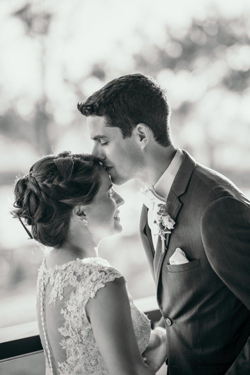 denver wedding forehead kiss