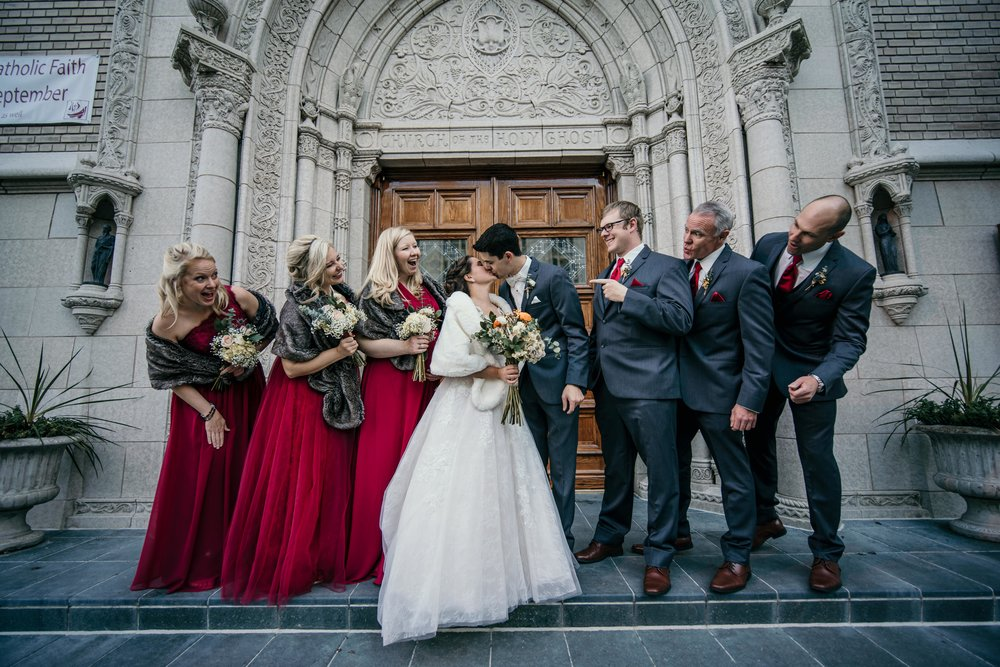 denver wedding at holy ghost church with wedding party