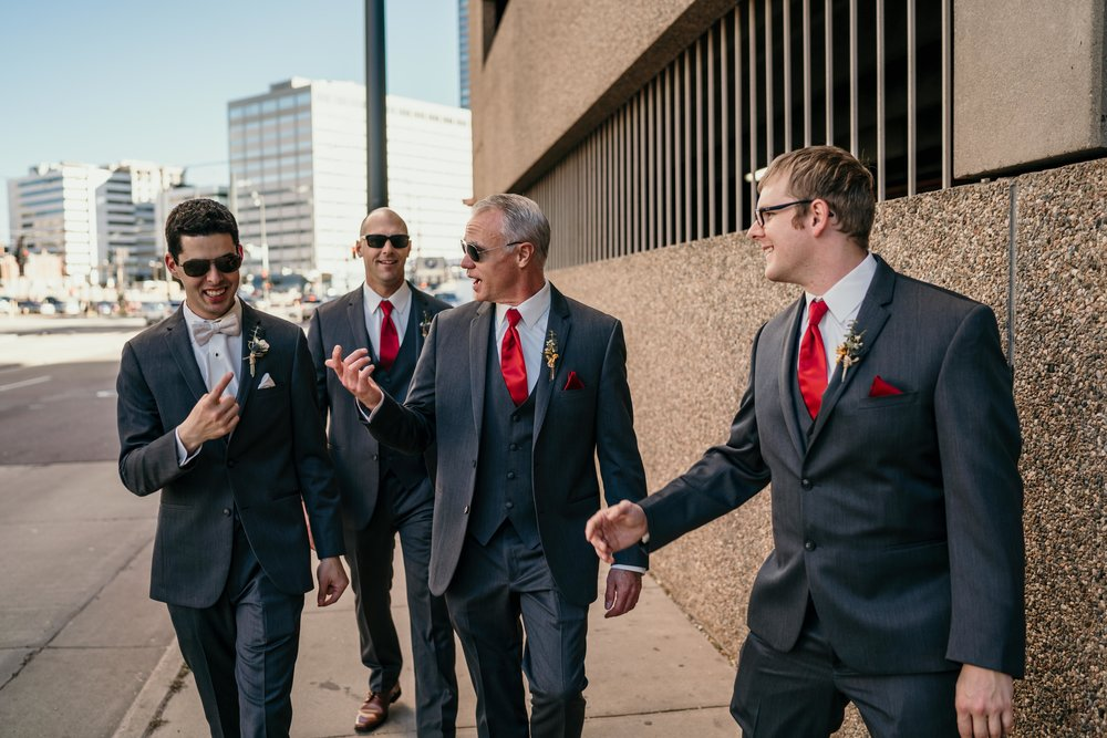 denver wedding groomsmen downtown