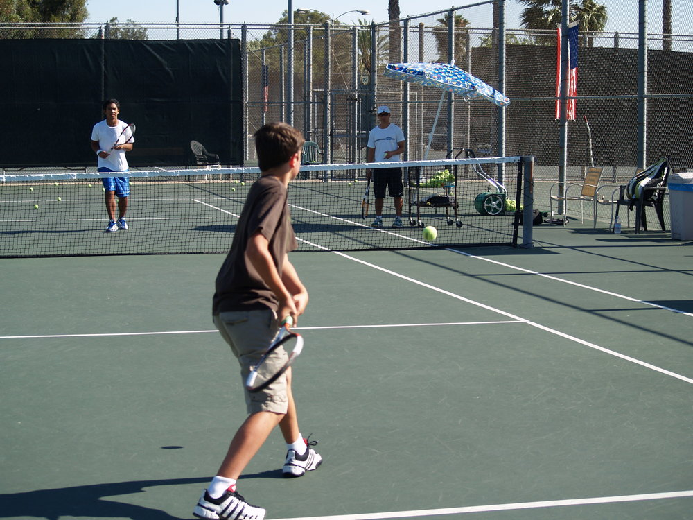 Practicing a two-handed backhand.