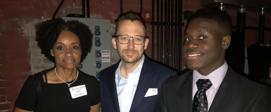 Kevin Dawson and Felicia Jackson of GE New Orleans with Gabriel Johnson, a YouthForce NOLA intern the company hosted this summer.