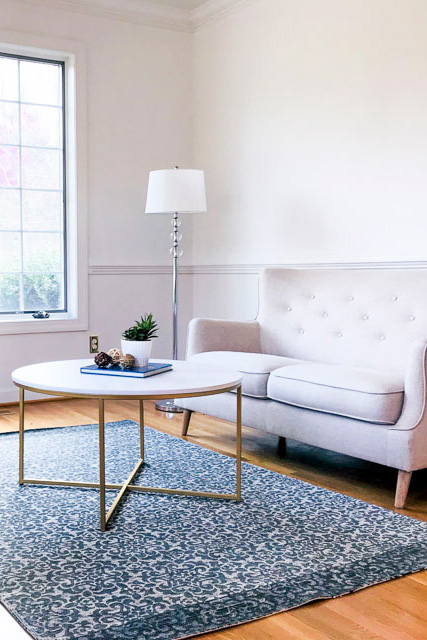 Lovely living room receives color consultation by UpStaging Designs in Raleigh NC