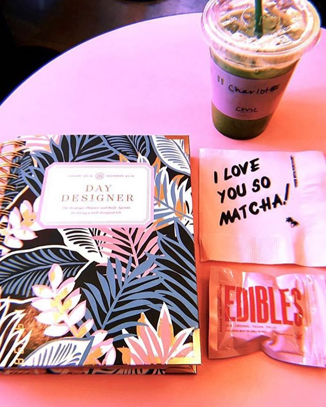 THE BEST THINGS FOR FOCUS. 🌿 Sippin on matcha and munchin on CBD infused chocolate makes for a productive AF day, especially when you're working on the weekend, am I right?! #gobasicbeextra 📸: @charlotterdoherty