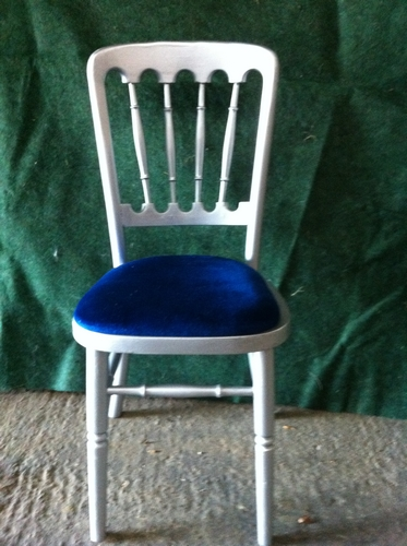 Silver banqueting chair with blue seat pad.jpg