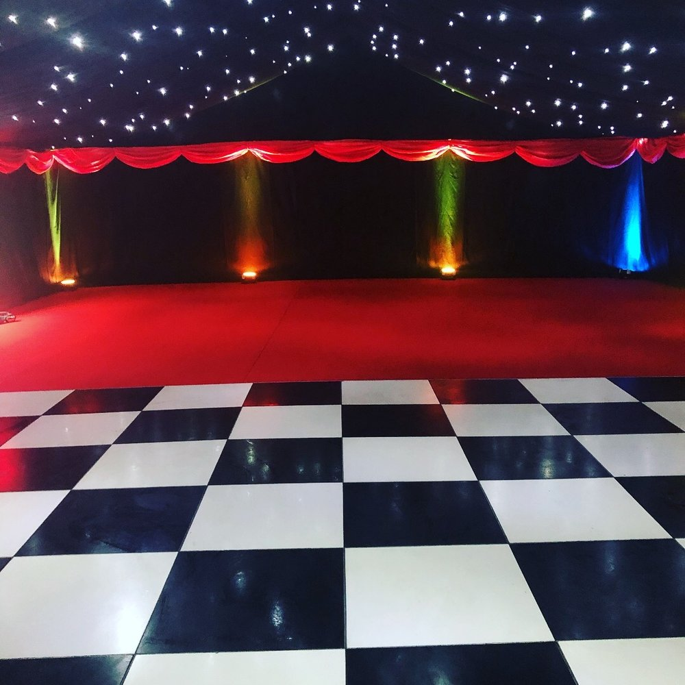 LED Uplighters - Fixed on your choice of colour or changing to the beat of the music, LED uplighters will bring colour to any event. Versatility is the key to this fixture, a double yoke bracket that also means it can sit directly on the ground or inside truss hanging from the ceiling. Great for parties.