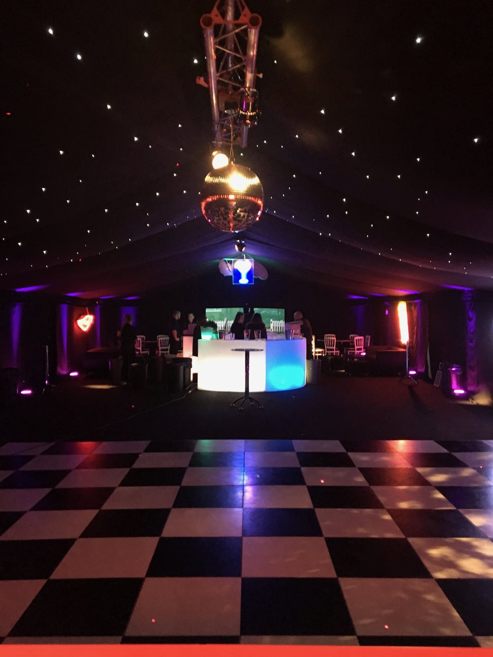 Mirror Ball - We can also provide mirror balls for a classic ballroom effect lighting. A slowly rotating ball covered with tiny mirrors, each of which reflects beams of light from spot lights which are also provided. Works great on it's own, in multiple numbers or as part of the dance lighting package.