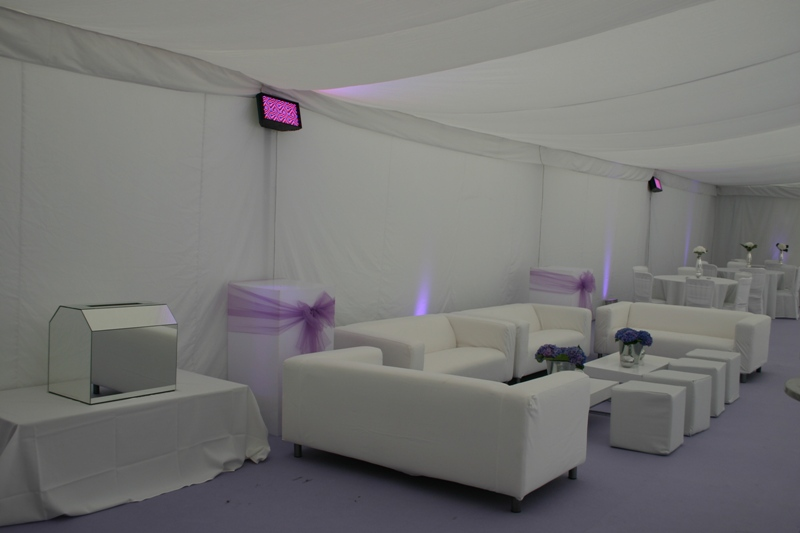 Flat Linings - Flat linings can create a more contemporary, modern feel to a marquee. We stock both white and black flat linings which are usually used below the star cloth ceiling alongside our pleated linings to create the feel of a 'dance area'.