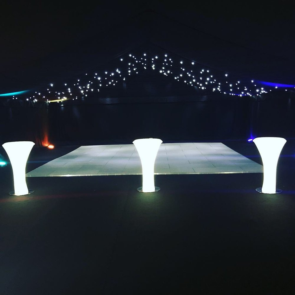 Starcloth - Our star cloth can create the ultimate finish to any marquee or venue. Often used over a dance floor to have a dramatic effect as the black material appears as the night sky with twinkling stars provided by small LED lights sewn into the material. The clever thing about our star cloths are that they have microphones built into the controllers that react to the beat of your music, giving a live, constant effect!Whether you choose to have the star cloth cover the dance floor, a back drop for a DJ or a fully covered ceiling, we know that it will not disappoint and always adds the 'wow' factor for you and your guests.