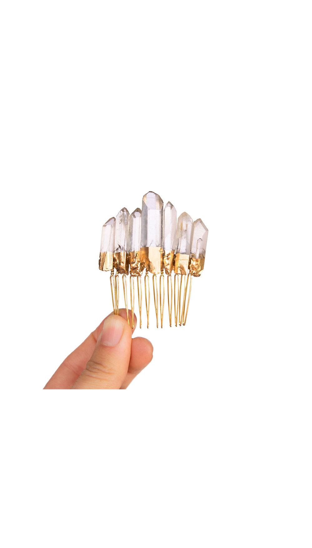 Gold Crystal Quartz Comb