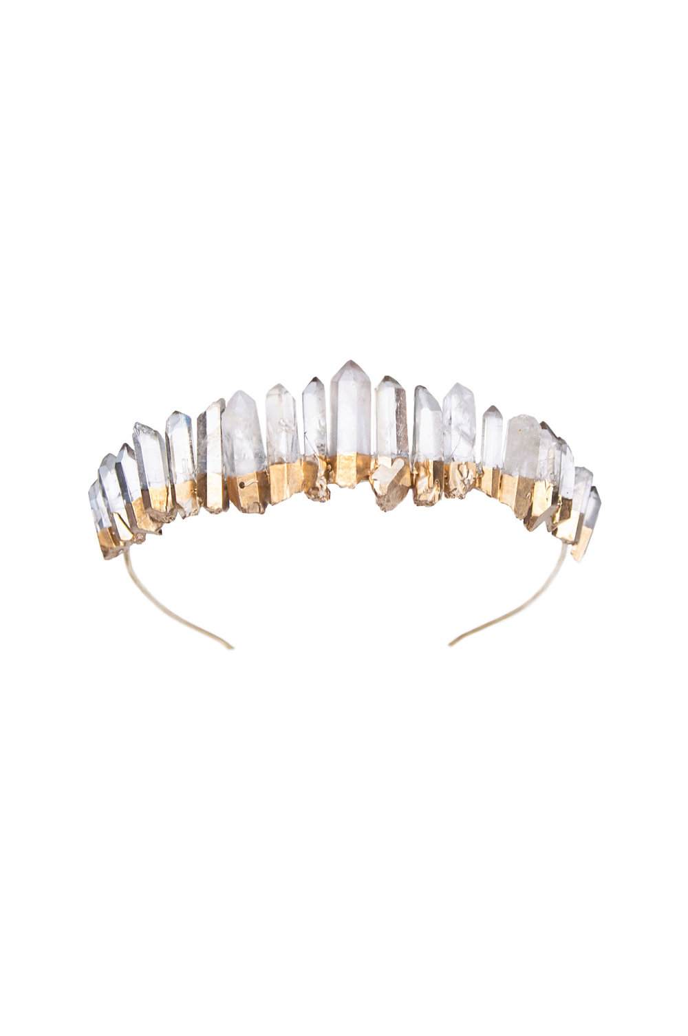 Gold Clear Raw Quartz Crown