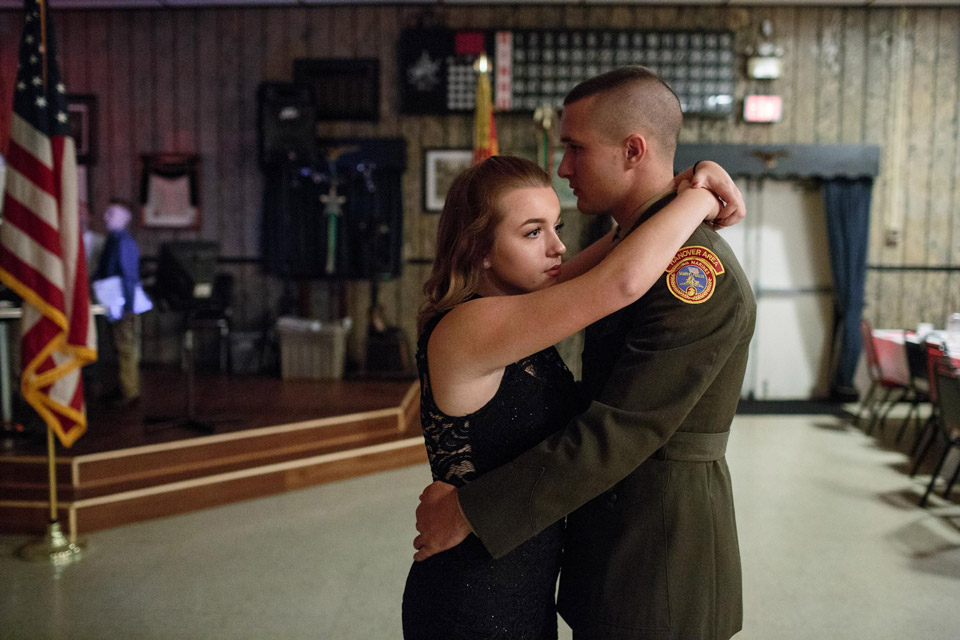 Garett, a senior member of the Young Marines, dances with his girlfriend at a Young Marines attend a ball at the local VFW, 21 Oct 2017, Hanover, PA. The ball is celebrated once a year, with family and friends celebrating the students success in the program. Hanover and the surrounding districts combine for Young Marines meetings, with a total of around 40 students. Nationwide, the youth group has around 300 clubs. The ages range from 8-18. The Young Marines is a not-for-profit organization focusing on youth development in categories such as citizenship, patriotism, and drug-free lifestyles.