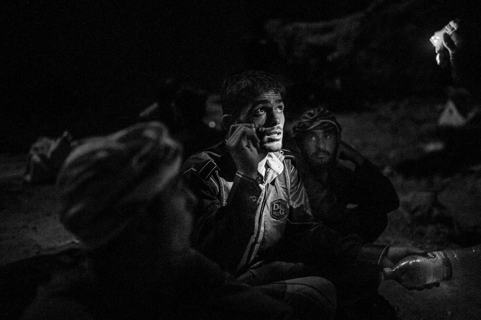 An Afghan refugee begs to not be arrested. Refugees have many problems entering Iran. Kidnapping and ransom is common. They are also used as workers. August 2017.