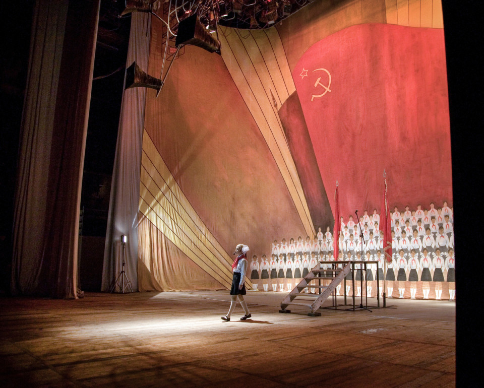 November 2008, Simferopol, Crimea, Ukraine.   Varvara Nikolayenko on the stage in the theater play where she performs a role of a Soviet Pioneer.