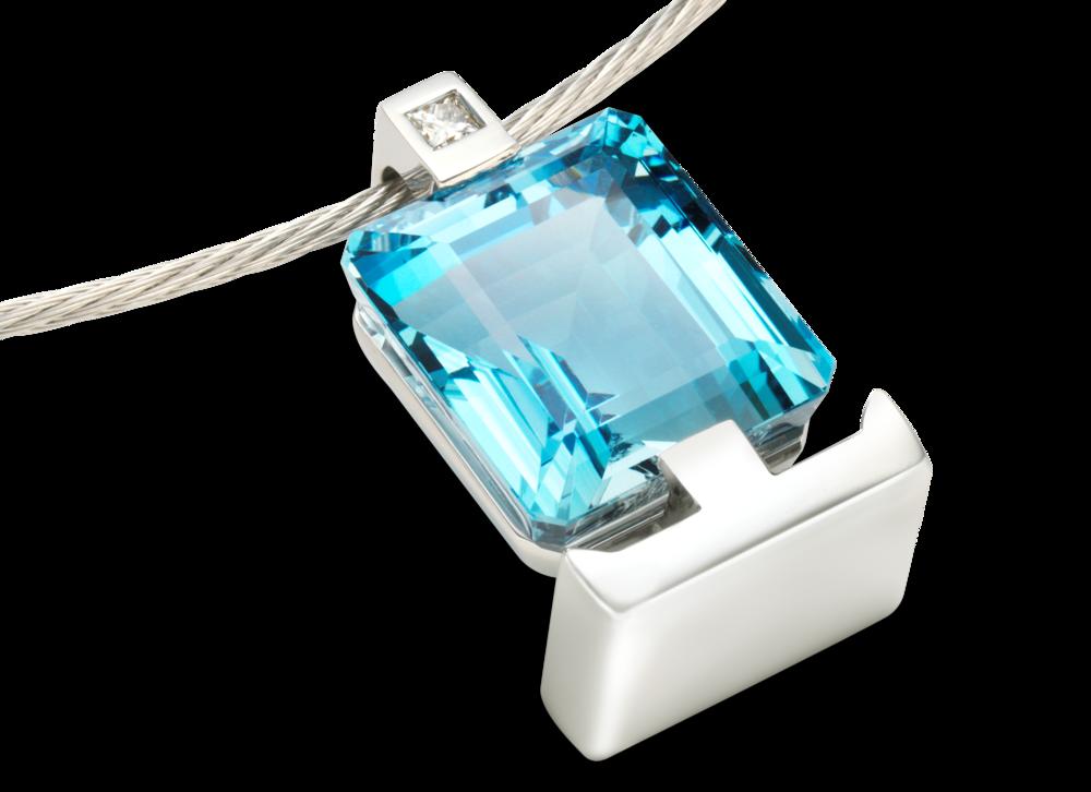Pendentif Meeta - Or blanc Aigue-Marine et diamant